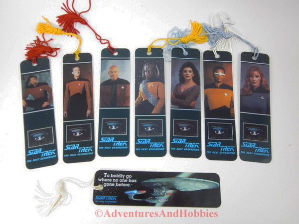 Star Trek TNG Tasseled Bookmarks Lot of 8 Piacard Riker Data Worf More 108DU