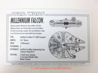 Star Wars Millennium Falcon Rebel Alliance File 0002 Technical Data Card 1995 BQ-D