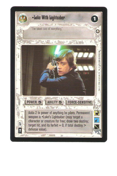 Star Wars CCG Luke With Lightsaber 104 Enhanced Premiere Edition Trading Card