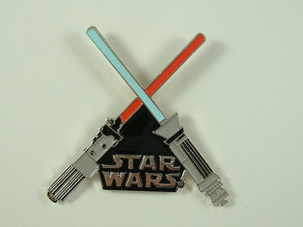 Star Wars Pin Crossed Lightsabers Black Logo 1996 Hollywood Pins Metal