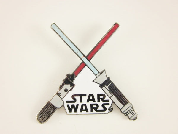 Star Wars Pin Crossed Lightsabers White Logo 1993 Lucas Films Metal