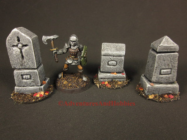 Wargame Terrain Graveyard Monuments Set of 3 T1520 Fantasy D&D Horror Scenery 40K