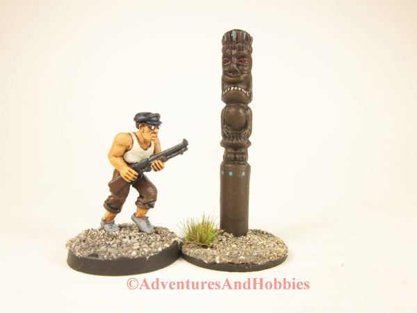 Tiki Totem God of Power scenery piece for 25-28mm scale miniatures games.