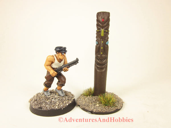 Tiki Totem God of Peace and Happiness scenery piece for 25-28mm scale miniatures games.