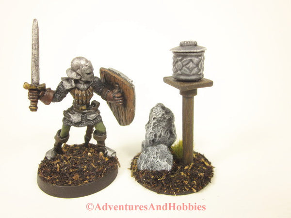 Wargame Terrain Roadside Graveyard Stone Shrine On Post T1571 25-28mm Scale