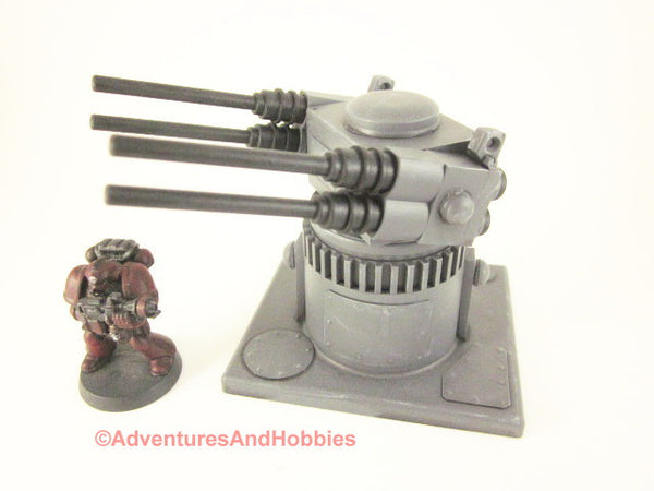 Miniature Wargame Remote Quad Barrel Gun Turret Scenery T544 War 40K