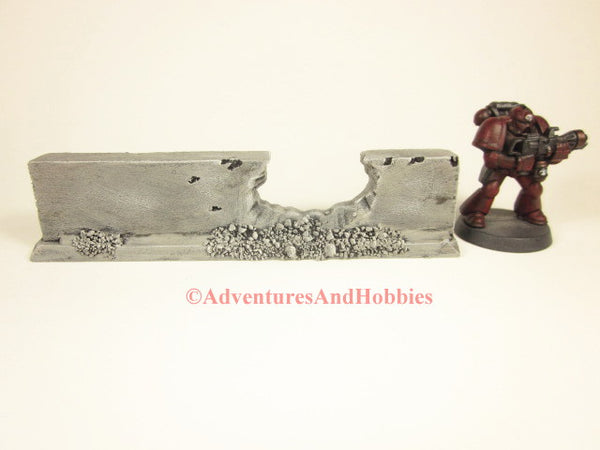 Wargame Terrain Battle Damaged Ruin Low Straight Wall Section Post Apocalypse Scenery 40K