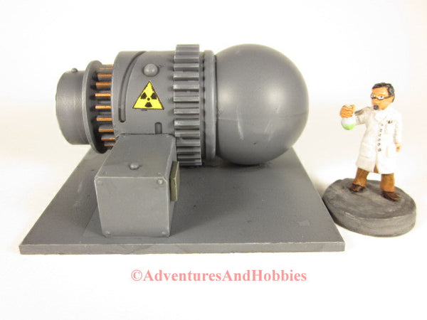 Wargame scenery 25-28mm scale nuclear power generator T607 for tabletop miniature war games.