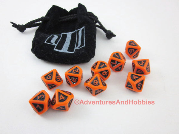 White Wolf Trinity D10 dice set plus dice bag.