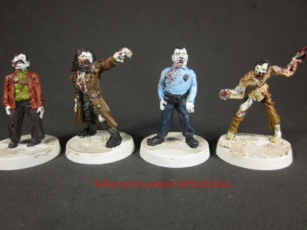 Post Apocalypse Zombie Horde Lot of 4 Painted Miniatures Horror Metal 25mm Z231