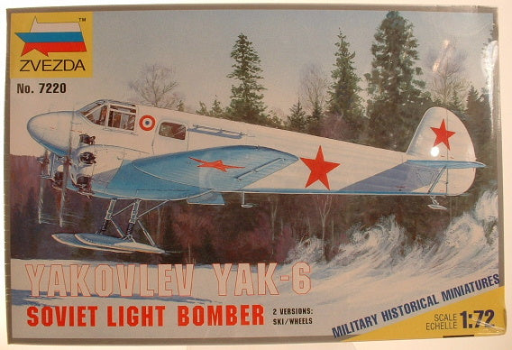 1:72 WWII Soviet Yakovlev Yak-8 Light Bomber Zvezda 7220 IA Model Kit