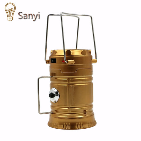 Sanyi LED Exterieur LED Solar Powered Collapsible Flashlights Portable Lamp LED Rechargeable Hand Lamp Camping Lantern Light