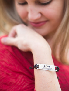 Love Justice Metal and Leather Bracelet