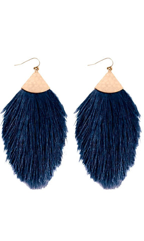 Tassel Earrings-Navy