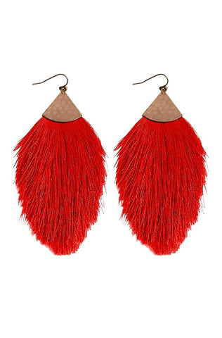 All For Fun Tassel Earrings-Red