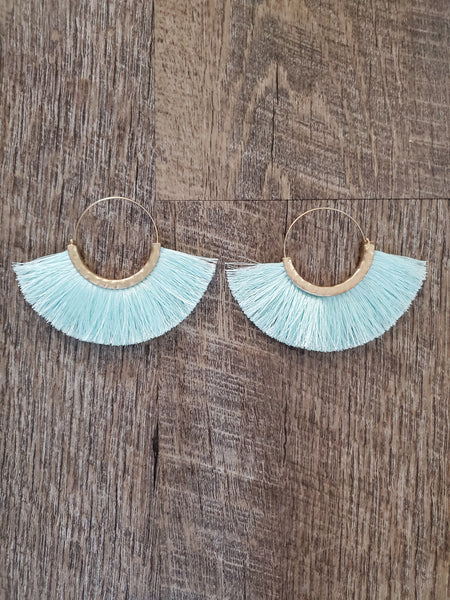 Mint Fan Tassel Earrings