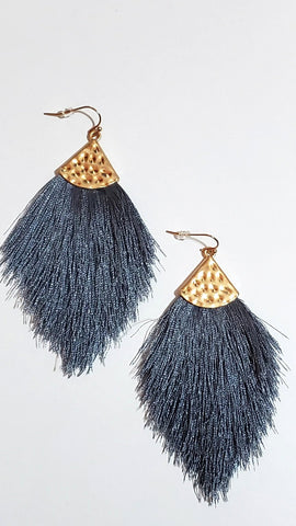 All For Fun Tassel Earrings-Grey