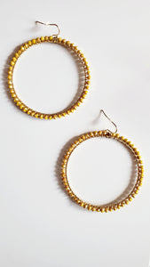 Mustard Gold Glass Bead Hoop Earrings