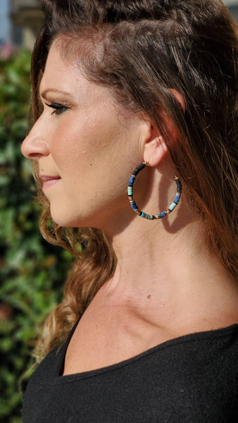 Gold Multi Color Beaded Hoops-turquoise/black/blue