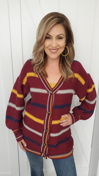 Unforgettable Cardigan-Burgundy Multi-Color