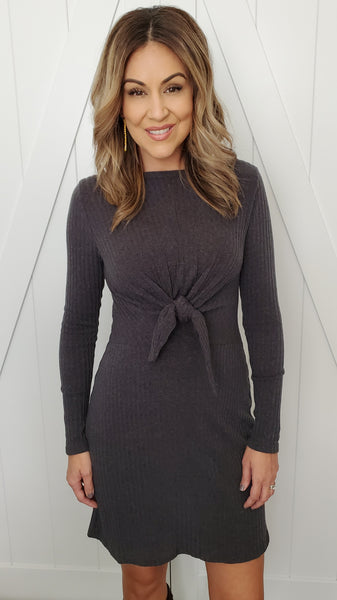 Knot Forgotten Sweater Dress- Charcoal Grey