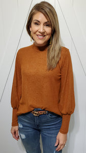 All About The Sleeves Top- Pumpkin Rust