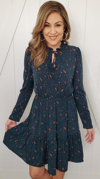 Paisley Dress-Hunter Green