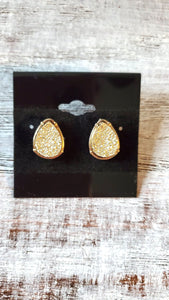 Gold Druzy Tear Drop Earrings
