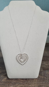 Triple Layer Crystal Heart Necklace-Silver