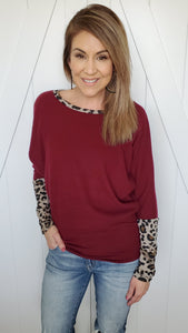 My Perfect Love Top- Burgundy/Leopard