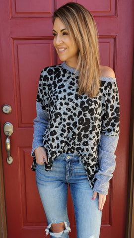 You Got This Sweater- Grey/Leopard