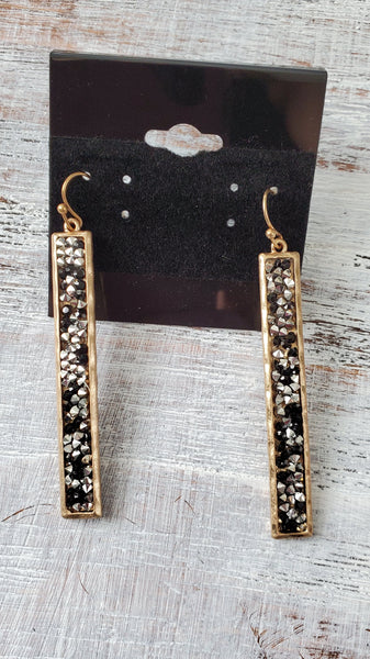 Silver/Black/Gold Bar Earrings