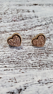 Dainty Stud Druzy Heart Earrings/Gold/Rose Gold