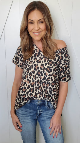 Your Go-To Leopard Top- Ivory/black/brown