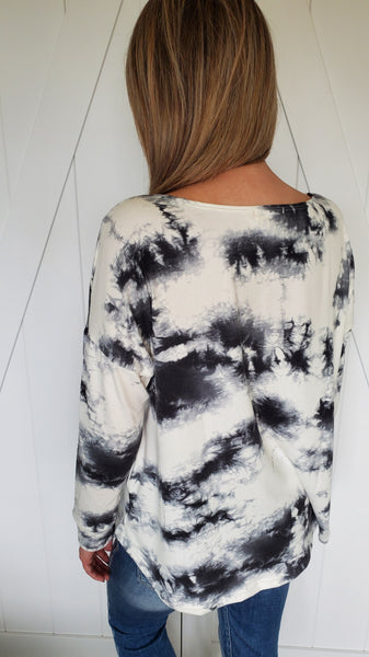 In The Good Times Tie Dye Top- Grey/Black/Ivory
