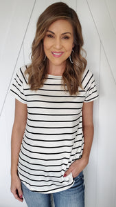 Oh Those Stripes Top- white/black