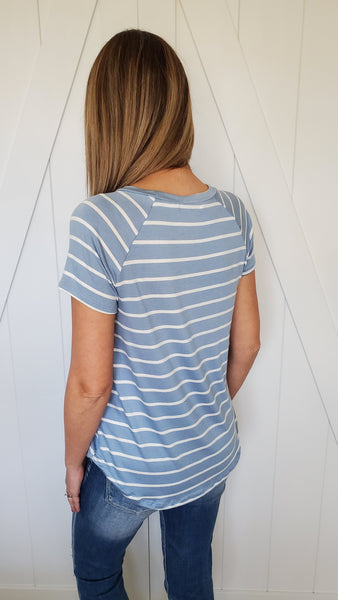 Oh Those Stripes Top- Blue/Ivory