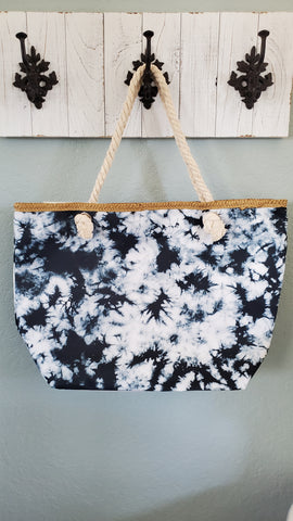 Tie Dye Tote Bag-Black/White