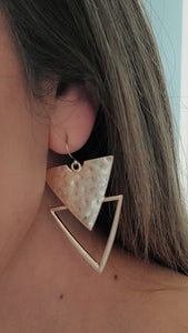Gold Hammered Pressed Triangle Earrings