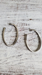 Rhodium Satin Finish Oval Hoops