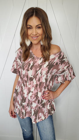 Because You Love Camo Top- Pink/Ivory/Brown