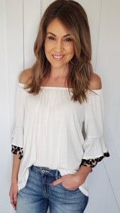 All About The Fun Top- Ivory/Leopard