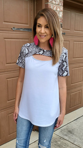 Confident About It Tunic Top- White/black/grey