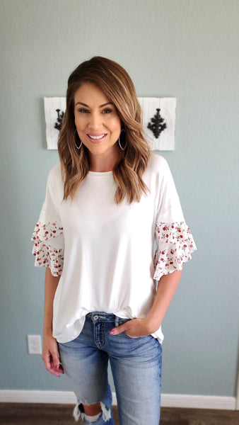 On Point Tunic Top- Ivory/floral