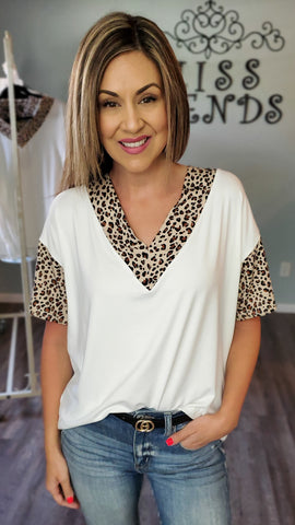 Hello Gorgeous Leopard Tunic Top- Ivory