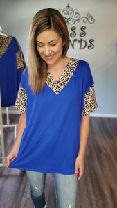 Hello Gorgeous Leopard Tunic Top- Royal Blue