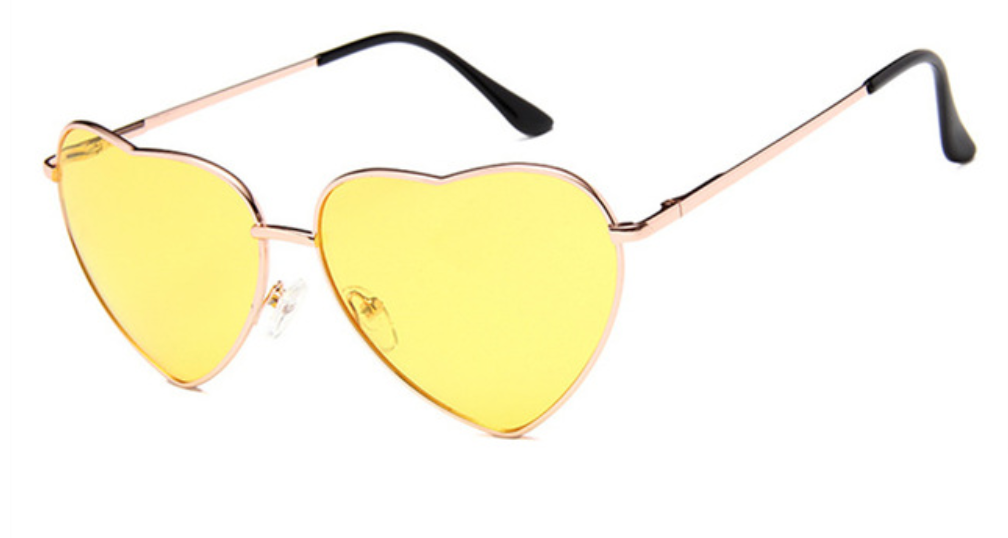 janis joplin heart shaped free sunglasses yellow
