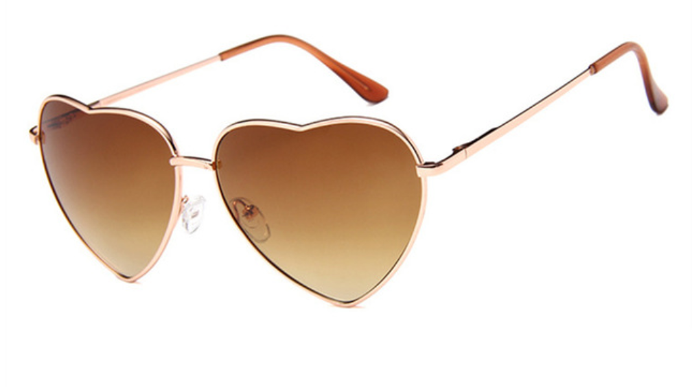 janis joplin heart shaped free sunglasses brown