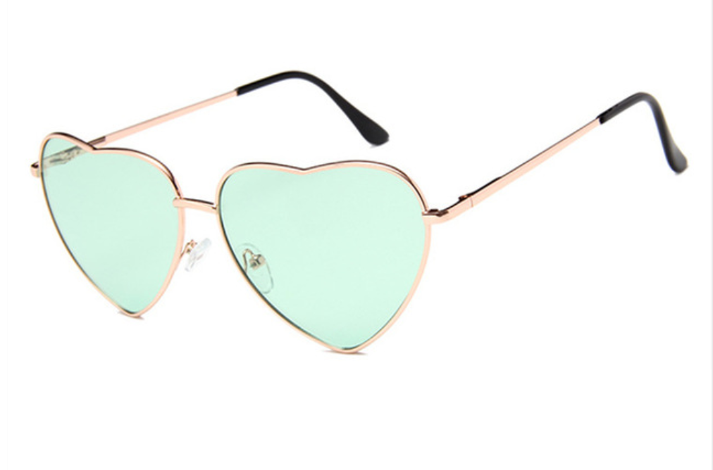 janis joplin heart shaped free sunglasses green
