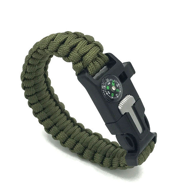 paracord survival free bracelet survival kit green